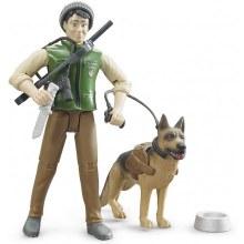 Garde forestier avec chien et accessoires
