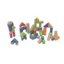 60 blocs imitation bois colorés