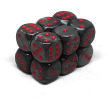 12 Dés 6 faces - Velvet Black/Red