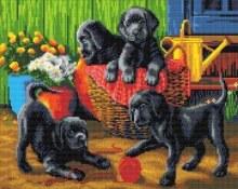 Crystal Art - Black Labrador Puppies - Large