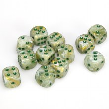 12 Dés 6 faces - Marble Green/Dark Green