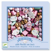 Perles en bois - Arc-en-ciel