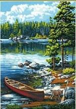 Peinture à Numéros - Canoe au bord du lac