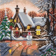 Crystal Art - Snowman Cottage - Medium