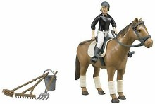 Horse woman and riding accessories
