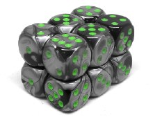 12 Dés 6 faces - Gemini Black-Grey/Green