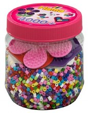 4000 perles et plaquettes rose Hama