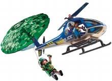 Hélicoptère de police et parachutiste