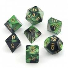 Dés Polyedriques - Black-Green/Gold