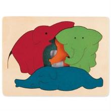 Casse-tête relief - Éléphants