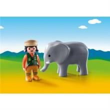 Soigneur avec Éléphanteau