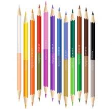 12 crayon de couleurs double pointes