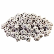 10 Sided Dice 0-9 (white)