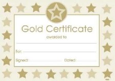 Award Certificate - Gold Star