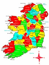 Map Of Ireland - English
