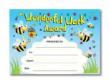 Award Certs - Wonderful Work