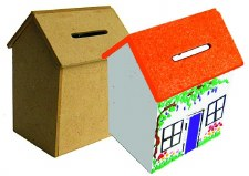 Wooden House Money Box