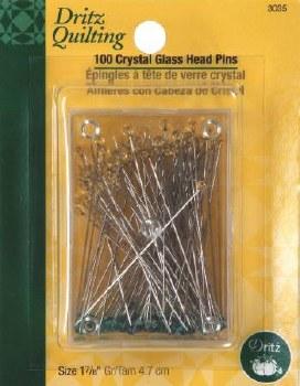 Pins, Crystal Glass Head 1 7/8