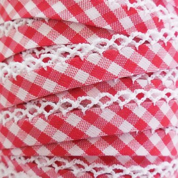 Crochet Bias Trim Red Check