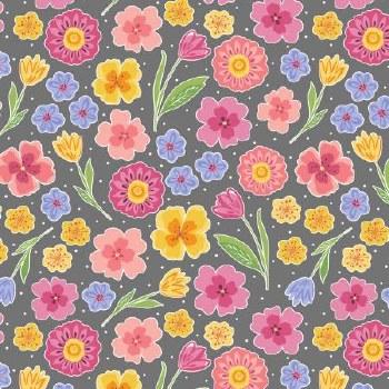 Full Bloom Floral Grey