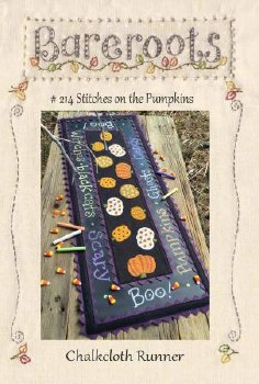 Stitches on the Pumpkin Chalkboard Runner