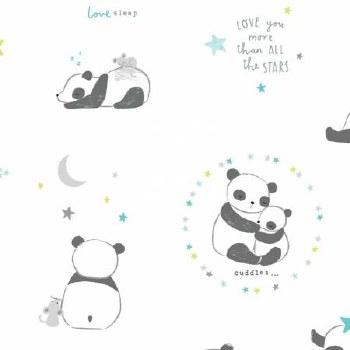 Wide Awake Flannel Bears White
