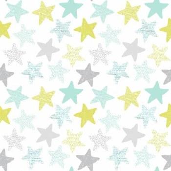 Wide Awake Flannel Stars White