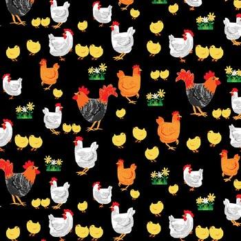 Best Friends Rooster Hen Black