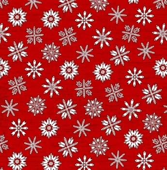 Frosty Folks Flannel Snow Red