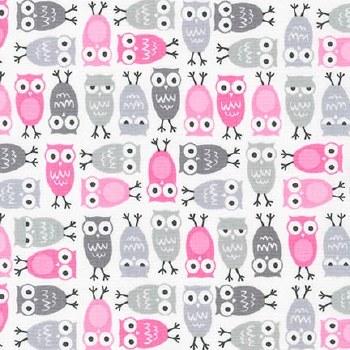 Urban Zoologie Owls Pink Grey