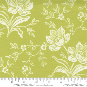Woodcut Floral 108 Inch Green