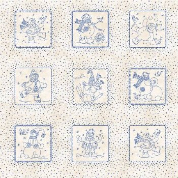 Roly Poly Snowmen Patches Blue