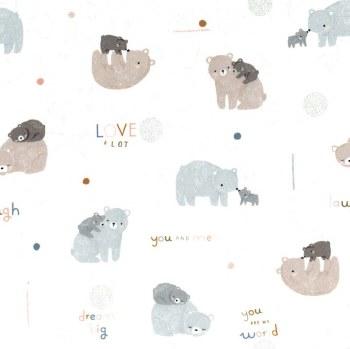 Minky Dots Bears on White