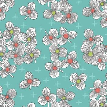 Lexi Spaced Floral Aqua