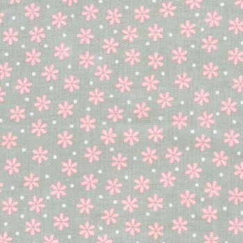 Cozy Cotton Grey Pink Flowers