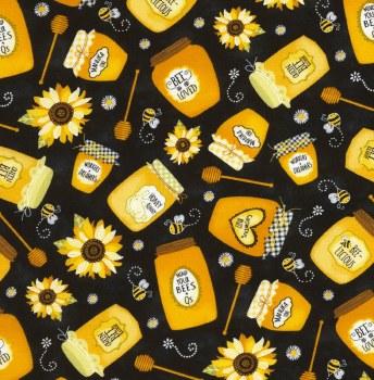 Sunflower Jars of Honey Black