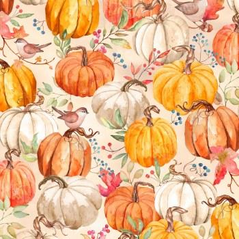 Autumn Day Packed Pumpkins Tan