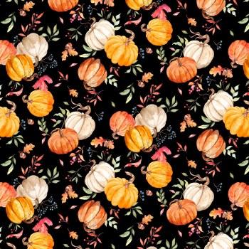 Autumn Day Pumpkins Toss Black