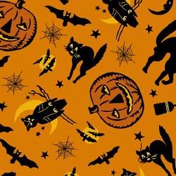 Haunting Pumpkins Bats Orange