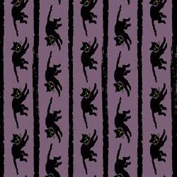 Haunting Black Cat Stripe Purp