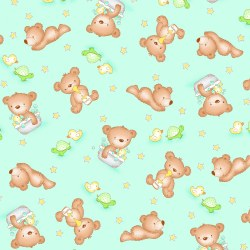 Comfy Flannel Baby Bear Teal