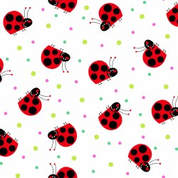 Comfy Flannel Ladybug White