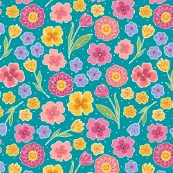 Full Bloom Floral Turquoise