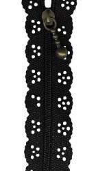 "Zipper Lace 12"" Black"