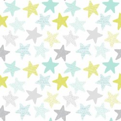 Wide Awake Flannel Stars White
