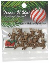 Buttons Sleigh Reindeer