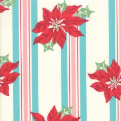Sweet Christmas Poinsettia Stripe Coolmint