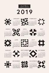 2019 Calendar Quilt BlockTowel