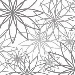 """Star Flower 108"""" White Gray"""