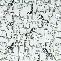 Minky JungleAnimals Grey Black